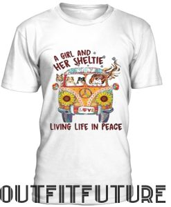 A girl and her sheltie living life in peace T-Shirt