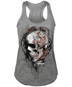 Faded Flower Skull Vest Tank top BC19