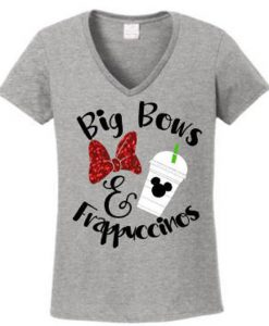 Big Bows and Frappuccinos on a Women's Vneck Shirt BC19