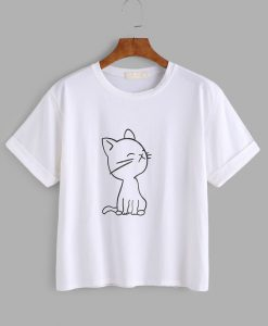 Cat Print Cuffed T-shirt ER01