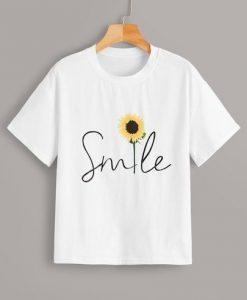 Sunflower & Letter Print Tee T-shirt ER01