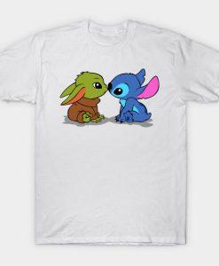 Stitch Kiss Baby Yoda Tshirt FD24D