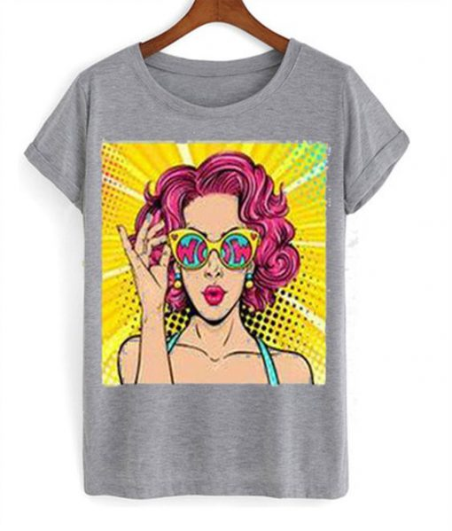 Wow pop art face t-shirt FD6F0