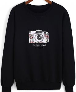 Black Round Neck Camera Print Loose Sweatshirt AL17F1