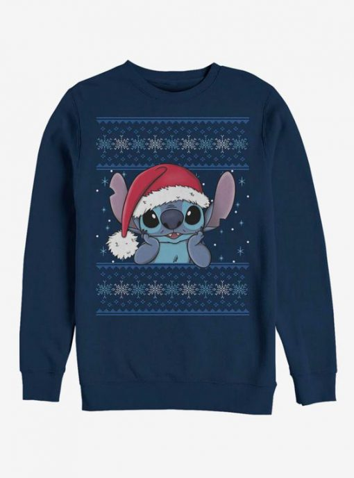 Stitch Wearing Santa Hat Crew Sweatshirt FA23F1